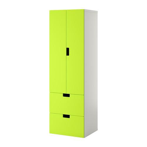СТУВА Комб для хран с дверц/ящ - белый/зеленый
