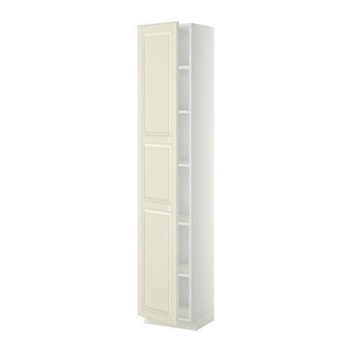 МЕТОД Высок шкаф с полками - 40x37x200 см, Будбин белый с оттенком, белый