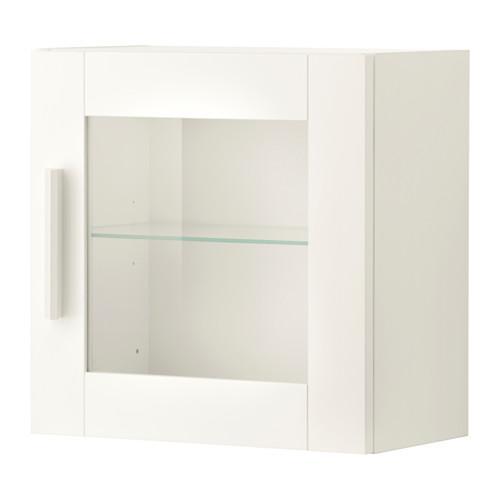 БРИМНЭС Навесной шкаф со стеклянной дверью - белый