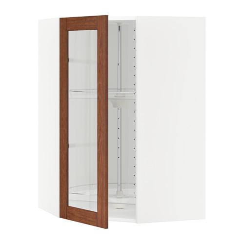 МЕТОД Углов навесн шк с врщ скц/сткл дв - 68x100 см, Филипстад коричневый, белый