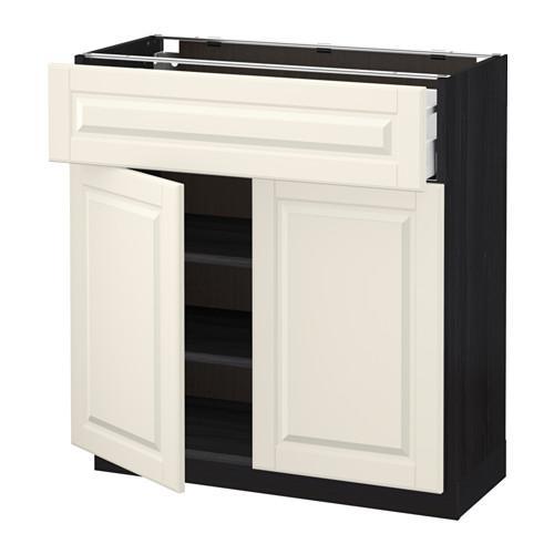МЕТОД / МАКСИМЕРА Напольный шкаф+ящик/2дверцы - 80x37 см, Будбин белый с оттенком, под дерево черный