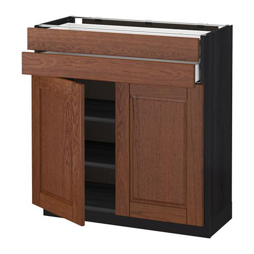 МЕТОД / МАКСИМЕРА Напольный шкаф/2дверцы/2ящика - 80x37 см, Филипстад коричневый, под дерево черный