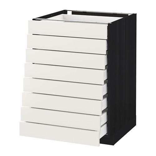 МЕТОД / МАКСИМЕРА Наполн шкаф 8 фронт/8 низк ящиков - 60x60 см, Сэведаль белый, под дерево черный