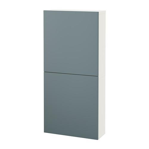 БЕСТО Навесной шкаф с 2 дверями - белый/Вальвикен серо-бирюзовый