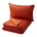 КАРИТ Покрывало и чехол на подушку - оранжевый, 180x280/40x60 см