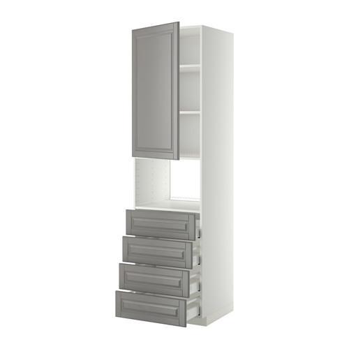МЕТОД / МАКСИМЕРА Высок шкаф д/духовки/дверца/4ящика - 60x60x220 см, Будбин серый, белый