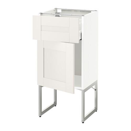 МЕТОД / МАКСИМЕРА Напольный шкаф с ящиком/дверью - 40x37x60 см, Сэведаль белый, белый