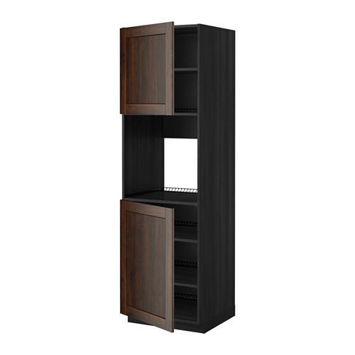 МЕТОД Высок шкаф д/духовки/2дверцы/полки - 60x60x200 см, Эдсерум под дерево коричневый, под дерево черный