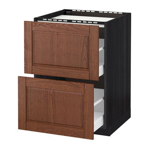 МЕТОД / МАКСИМЕРА Напольн шкаф/2фронт пнл/3ящика - 60x60 см, Филипстад коричневый, под дерево черный