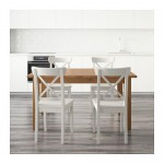 INGOLF / STORNÄS bord og 4 avføring flekk, antikk / hvit