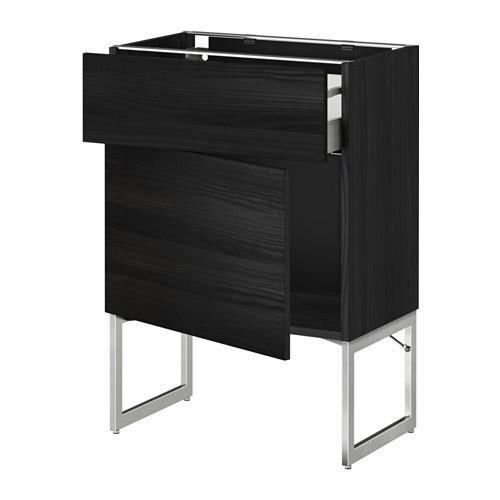 МЕТОД / МАКСИМЕРА Напольный шкаф с ящиком/дверью - 60x37x60 см, Тингсрид под дерево черный, под дерево черный
