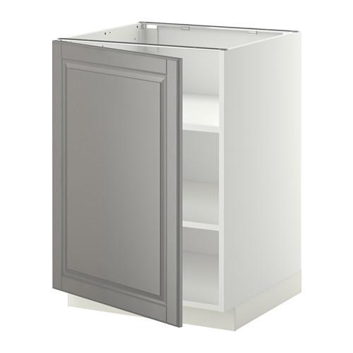 МЕТОД Напольный шкаф с полками - 60x60 см, Будбин серый, белый