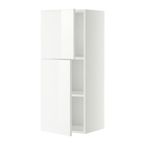 МЕТОД Навесной шкаф с полками/2дверцы - 40x100 см, Рингульт глянцевый белый, белый