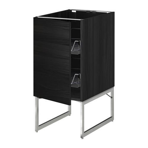МЕТОД Напольный шкаф с проволочн ящиками - 40x60x60 см, Тингсрид под дерево черный, под дерево черный