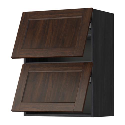 МЕТОД Навесной шкаф/2 дверцы, горизонтал - 60x80 см, Эдсерум под дерево коричневый, под дерево черный