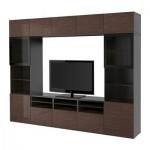 БЕСТО Шкаф для ТВ, комбин/стеклян дверцы - черно-коричневый/Сельсвикен глянцевый/коричневый прозрач стекло, направляющие ящика, плавно закр