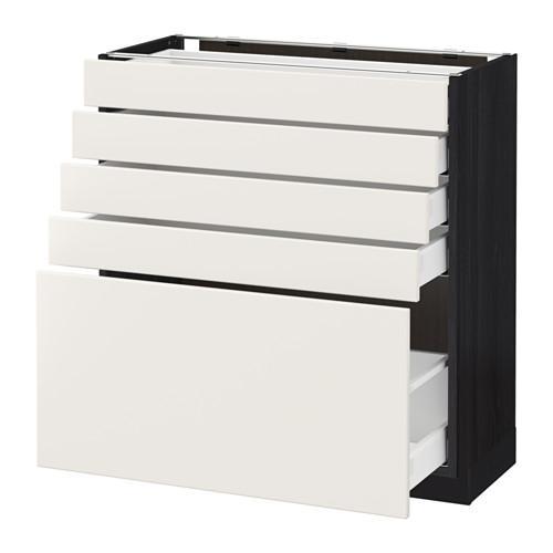 МЕТОД / МАКСИМЕРА Напольный шкаф с 5 ящиками - 80x37 см, Веддинге белый, под дерево черный