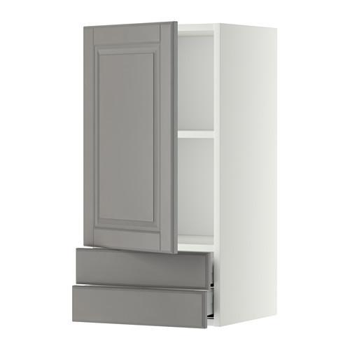 МЕТОД / МАКСИМЕРА Навесной шкаф с дверцей/2 ящика - 40x80 см, Будбин серый, белый