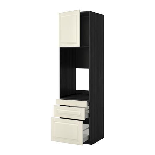 МЕТОД / МАКСИМЕРА Выс шкаф д/двойн духовки/3ящ/дверца - 60x60x220 см, Будбин белый с оттенком, под дерево черный