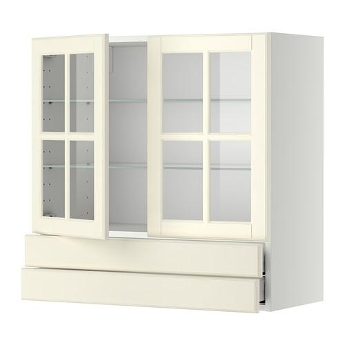 МЕТОД / МАКСИМЕРА Навесной шкаф/2 стек дв/2 ящика - 80x80 см, Будбин белый с оттенком, белый