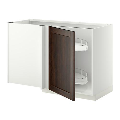 МЕТОД Угловой напол шкаф с выдвижн секц - Эдсерум под дерево коричневый, белый