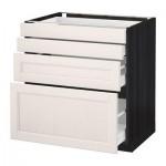 МЕТОД / МАКСИМЕРА Напольн шкаф 4 фронт панели/4 ящика - 80x60 см, Лаксарби белый, под дерево черный