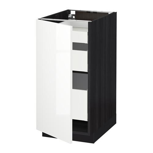 МЕТОД / МАКСИМЕРА Напольный шкаф с 1двр/3ящ - 40x60 см, Рингульт глянцевый белый, под дерево черный