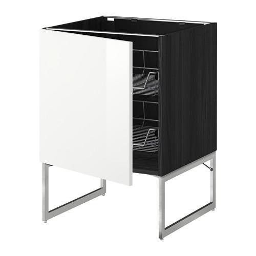 МЕТОД Напольный шкаф с проволочн ящиками - 60x60x60 см, Рингульт глянцевый белый, под дерево черный