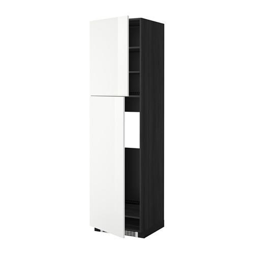 МЕТОД Высокий шкаф д/холодильника/2дверцы - 60x60x220 см, Рингульт глянцевый белый, под дерево черный