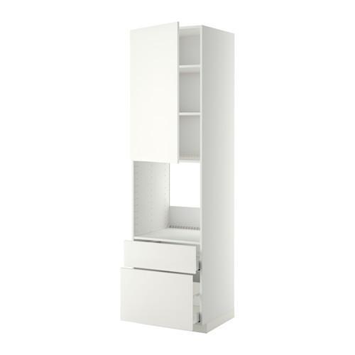 МЕТОД / МАКСИМЕРА Высок шкаф д духов+дверь/2 ящика - 60x60x220 см, Хэггеби белый, белый