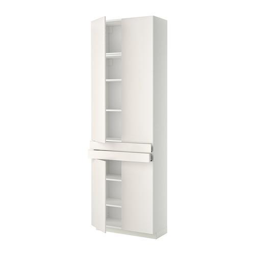 МЕТОД / МАКСИМЕРА Высокий шкаф+полки/2 ящика/4 дверцы - Веддинге белый, белый