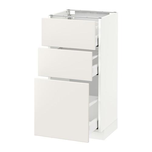 МЕТОД / МАКСИМЕРА Напольный шкаф с 3 ящиками - 40x37 см, Веддинге белый, белый