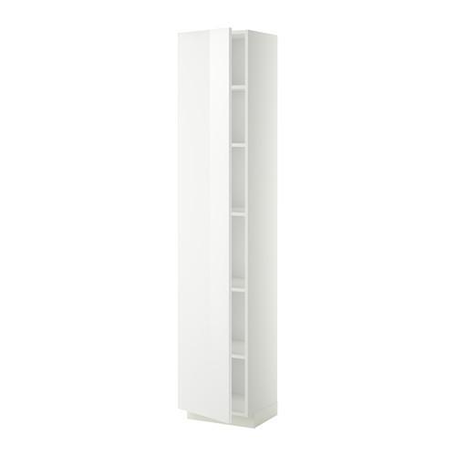 МЕТОД Высок шкаф с полками - 40x37x200 см, Рингульт глянцевый белый, белый