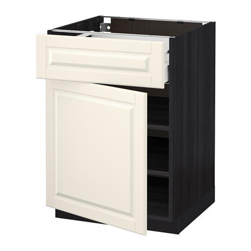 МЕТОД / МАКСИМЕРА Напольный шкаф с ящиком/дверью - 60x60 см, Будбин белый с оттенком, под дерево черный