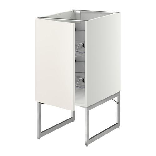 МЕТОД Напольный шкаф с проволочн ящиками - 40x60x60 см, Веддинге белый, белый