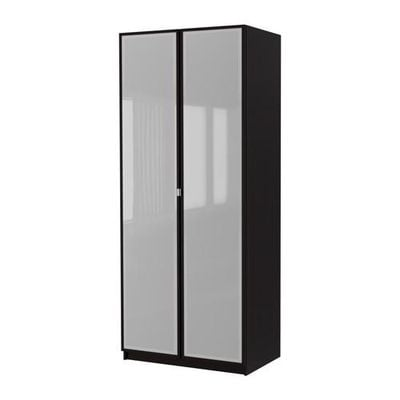 Pax garderobe 2 d rs pax fevik svart brun frostet for Ikea kleiderschrank braun