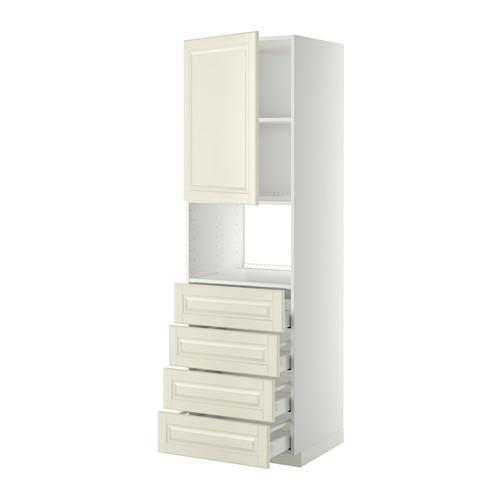 МЕТОД / МАКСИМЕРА Высок шкаф д/духовки/дверца/4ящика - 60x60x200 см, Будбин белый с оттенком, белый
