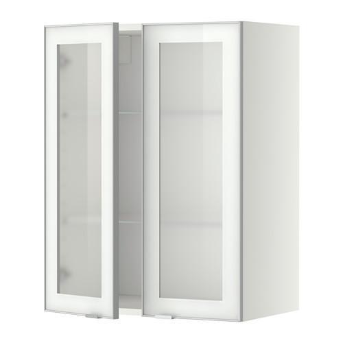 МЕТОД Навесной шкаф с полками/2 стекл дв - 60x80 см, Ютис матовое стекло/алюминий, белый