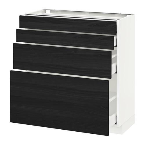 МЕТОД / МАКСИМЕРА Напольн шкаф 4 фронт панели/4 ящика - белый, Тингсрид под дерево черный, 80x37 см