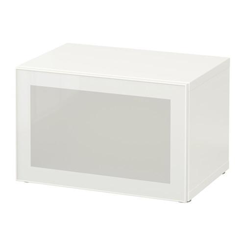 БЕСТО Стеллаж со стеклянн дверью - белый/Глассвик белый/матовое стекло