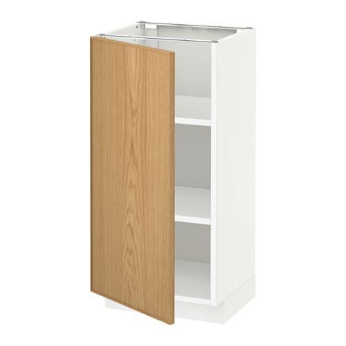 МЕТОД Напольный шкаф с полками - 40x37 см, Экестад дуб, белый