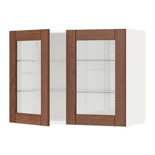 МЕТОД Навесной шкаф с полками/2 стекл дв - 80x60 см, Филипстад коричневый, белый