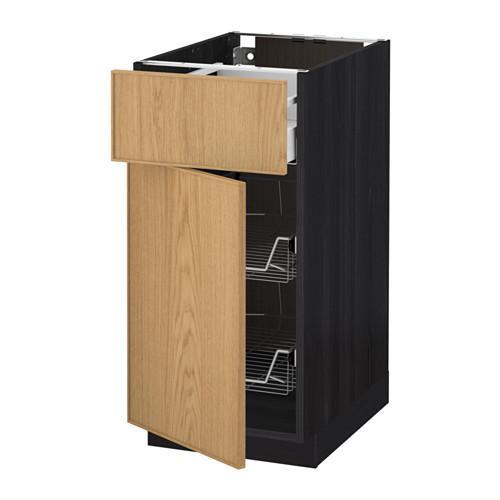 МЕТОД / МАКСИМЕРА Напольн шкаф с пров корз/ящ/дверью - 40x60 см, Экестад дуб, под дерево черный