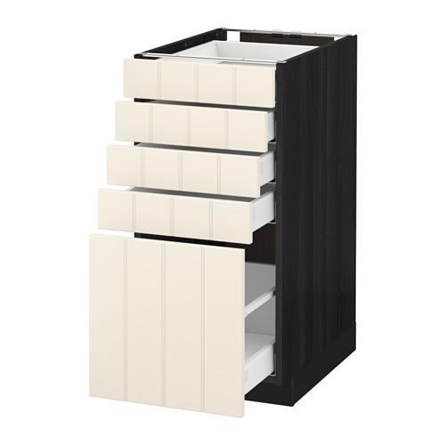 МЕТОД / МАКСИМЕРА Напольный шкаф с 5 ящиками - 40x60 см, Хитарп белый с оттенком, под дерево черный