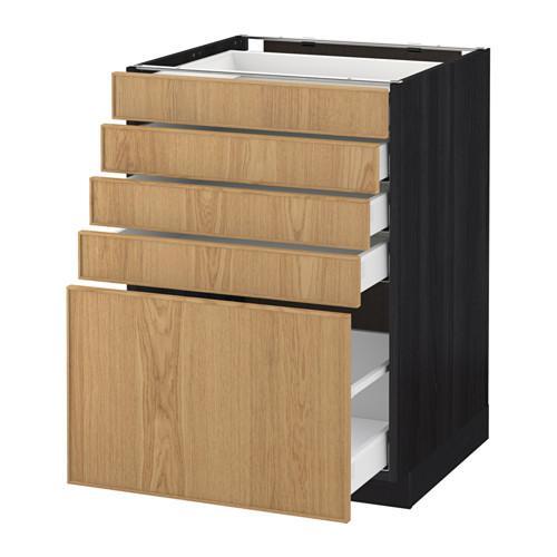 МЕТОД / МАКСИМЕРА Напольный шкаф с 5 ящиками - 60x60 см, Экестад дуб, под дерево черный