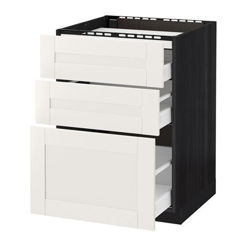 МЕТОД / МАКСИМЕРА Напольн шкаф/3фронт пнл/3ящика - 60x60 см, Сэведаль белый, под дерево черный