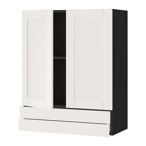 МЕТОД / МАКСИМЕРА Навесной шкаф/2дверцы/2ящика - 80x100 см, Сэведаль белый, под дерево черный