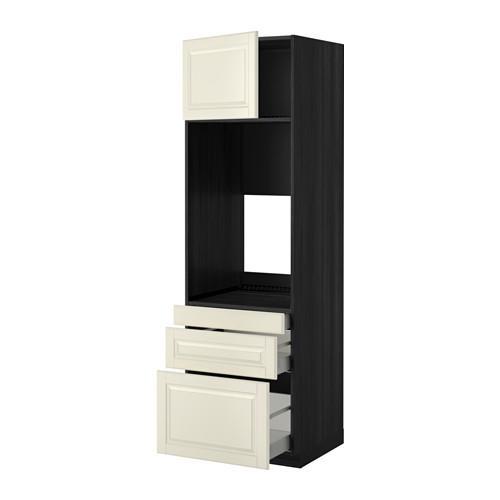 МЕТОД / МАКСИМЕРА Выс шкаф д/двойн духовки/3ящ/дверца - 60x60x200 см, Будбин белый с оттенком, под дерево черный