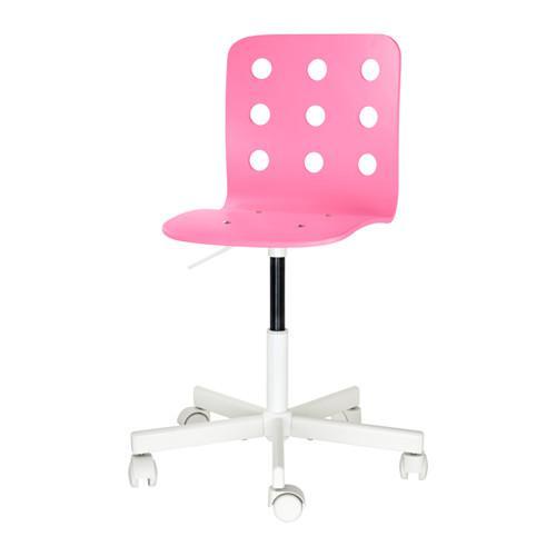 YULES Barnstol d skrivbord rosa vit