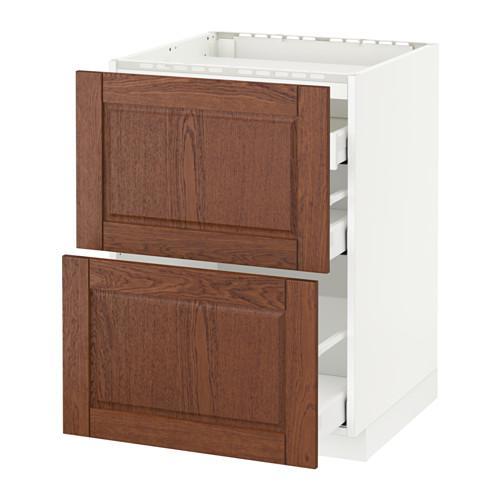 МЕТОД / МАКСИМЕРА Напольн шкаф/2 фронт пнл/3 ящика - 60x60 см, Филипстад коричневый, белый